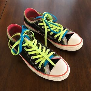 🌱Converse rainbow/double lace men's 8 women's 10